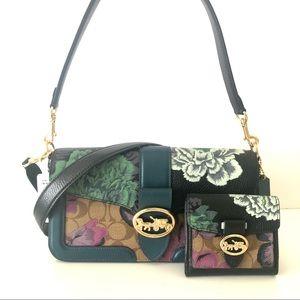 Coach Georgie Shoulder Bag Floral Purse Wallet Set